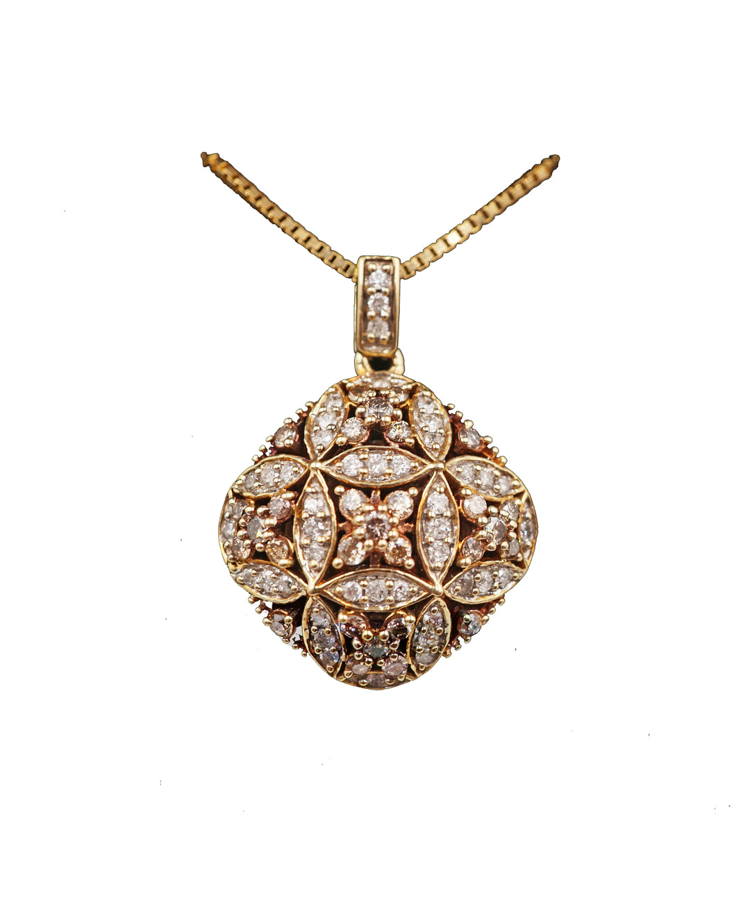 Square Diamond Floral Pendant