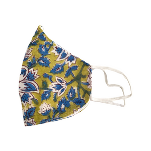Yellow and Blue Flowers Face Mask