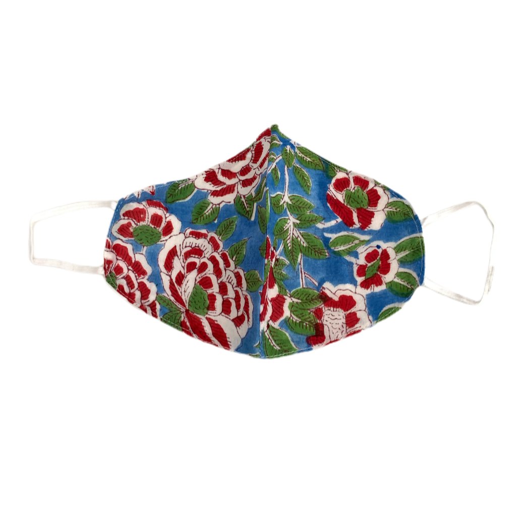 Blue and Red Flowers Face Mask