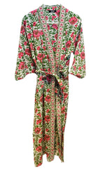 Load image into Gallery viewer, Pink Flowers and Green Kimono
