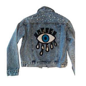Pearl Jean Jacket with Evil Eye