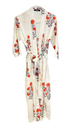 Load image into Gallery viewer, White and Pink Flowers Kimono