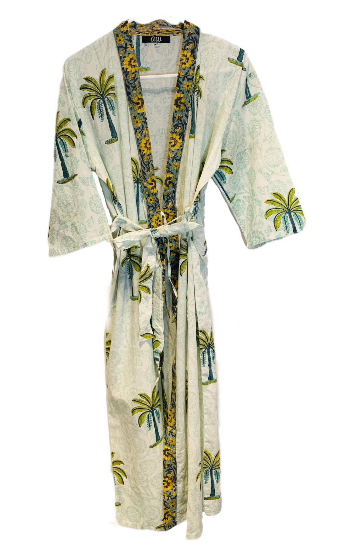 Green and Yellow Palm Tree Kimono