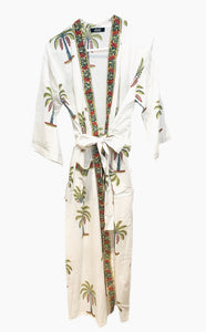 Green and Burgundy Palm Tree Kimono