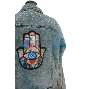 Pearl Jean Jacket with Hamsa