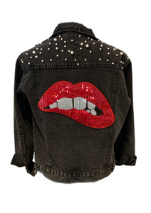 Black Jean Jacket  with Red Lips and pearls