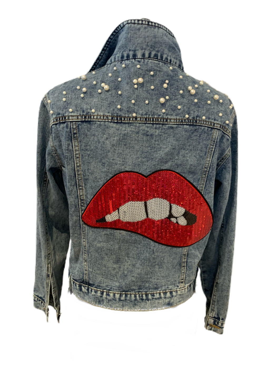 Pearl Jean Jacket with Red Lips