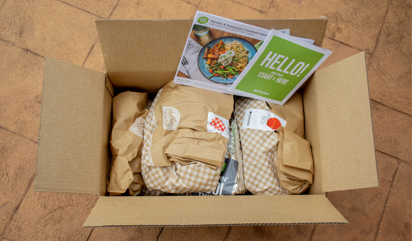 box of meal ingredients from Helllo Fresh