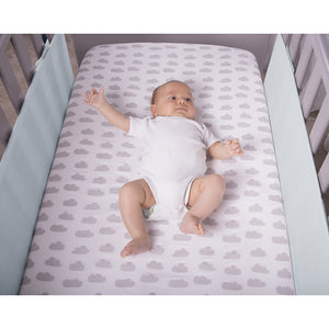 Baby In Cot With SafeDreams 2 Sided Hypoallergenic Breathable Cot Bumper