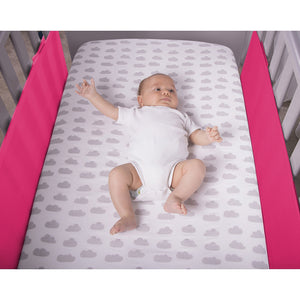 Baby in Cot With Raspberry SafeDreams 2 Sided Hypoallergenic Breathable Cot Bumper
