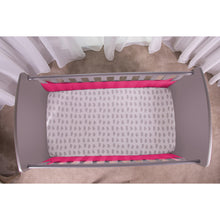 Load image into Gallery viewer, Top View of Raspberry SafeDreams 2 Sided Hypoallergenic Breathable Cot Bumper