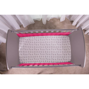 Top View of Raspberry SafeDreams 2 Sided Hypoallergenic Breathable Cot Bumper