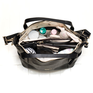 Inside Beau Sophia Changing Bag Black Croc