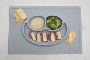 Food Demonstration EZPZ Happy Mat Silicone Feeding Mat - Pewter