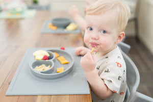 Feeding Time With EZPZ Happy Mat Silicone Feeding Mat - Pewter