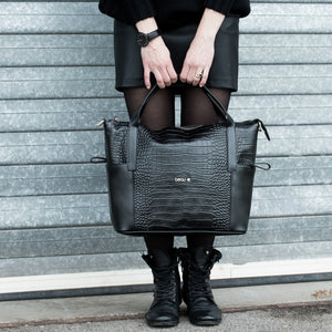 Designer Beau Sophia Changing Bag Leather - Black croc