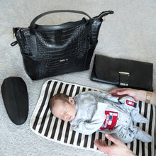 Load image into Gallery viewer, Baby Model & Accessories for Beau Sophia Designer Leather Changing Bag - Black croc