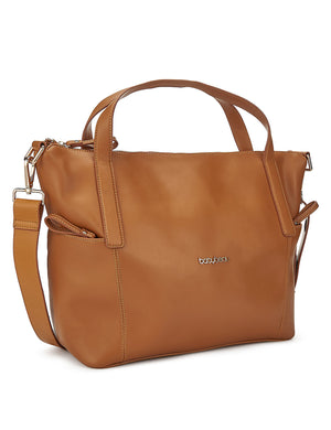 Beau Sophia Designer Leather Changing Bag - Tan