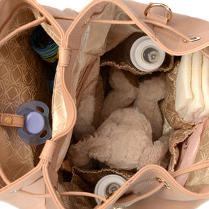 Inside View of Designs and Compartments for KeriKit Leather Baby Changing Backpack - Nude