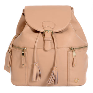 Front View of KeriKit Leather Baby Changing Backpack - Nude