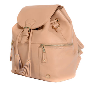 Close View of KeriKit Leather Baby Changing Backpack - Nude