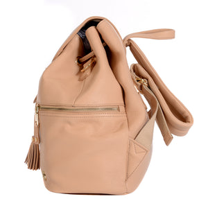 Side View of KeriKit Leather Baby Changing Backpack - Nude