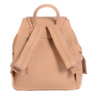 Back of KeriKit Leather Baby Changing Backpack - Nude