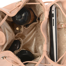 Load image into Gallery viewer, Compartments of KeriKit Leather Baby Changing Backpack - Nude