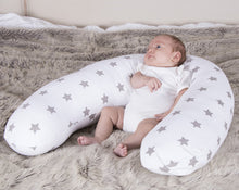 Load image into Gallery viewer, Baby Support Widgey Plus Pregnancy and Sleep Pillow/Body Support - Silver Star Print