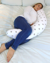 Load image into Gallery viewer, Sleep Widgey Plus Pregnancy and Sleep Pillow/Body Support - Silver Star Print