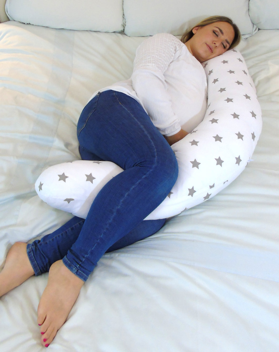 Sleep Widgey Plus Pregnancy and Sleep Pillow/Body Support - Silver Star Print