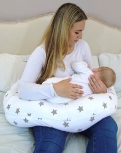 Feeding Support Widgey Plus Pregnancy and Sleep Pillow/Body Support - Silver Star Print