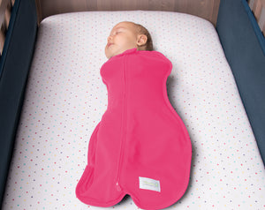 Baby Sleeping in Original Stretch Cotton Baby Newborn Swaddle for Safe Sleeping - Raspberry