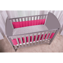 Load image into Gallery viewer, Side View of SafeDreams 2 Sided Hypoallergenic Breathable Cot Bumper Raspberry