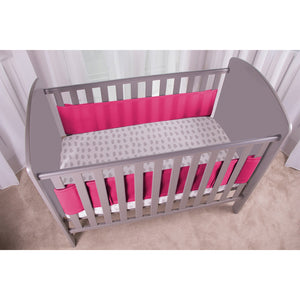 Side View of SafeDreams 2 Sided Hypoallergenic Breathable Cot Bumper Raspberry