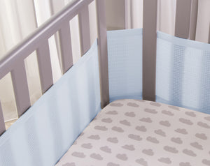Corner Blue 4 Sided Hypoallergenic Breathable Cot Bumper - With Safebreathe Technology
