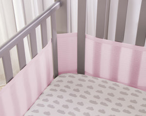 SafeDreams 4 Sided Hypoallergenic Breathable Cot Bumper - With Safebreathe Technology - Pink
