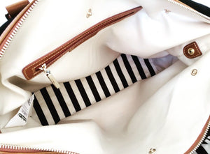 Inside of Designer Tote Changing Bag Striped White and Black
