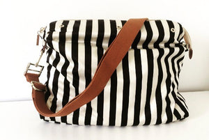 Striped Changing Bag - Black And White with Strap
