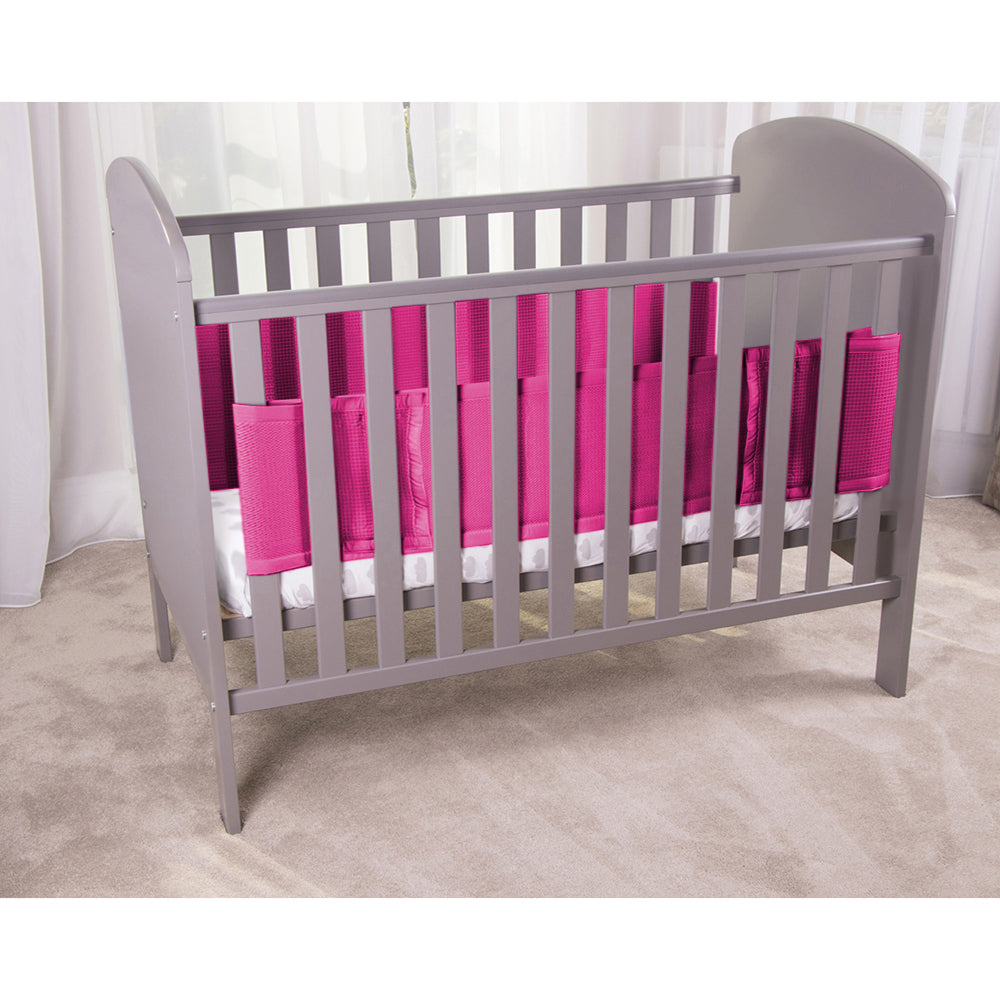 Raspberry SafeDreams 2 Sided Hypoallergenic Breathable Cot Bumper