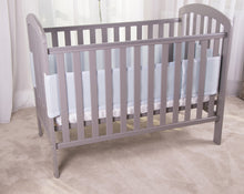 Load image into Gallery viewer, Side View of Blue SafeDreams 4 Sided Hypoallergenic Breathable Cot Bumper