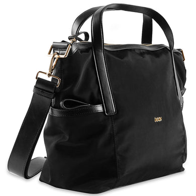 Beau Sophia Designer Leather Changing Bag - Black Nylon