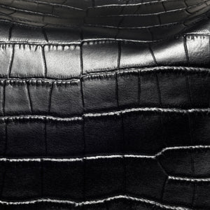 Close up design of Beau Sophia Designer Leather Changing Bag - Black croc