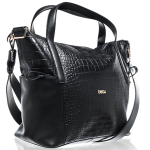 Beau Sophia Designer Leather Changing Bag - Black croc