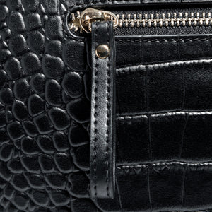 Zip Close Up & Design Beau Sophia Designer Leather Changing Bag - Black croc