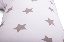 Load image into Gallery viewer, Close of Print Widgey Plus Pregnancy and Sleep Pillow/Body Support - Silver Star Print