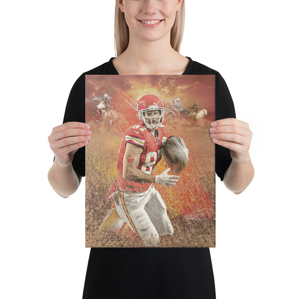 Travis Kelce Kansas City Chiefs Fine Art Canvas Print