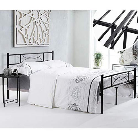 Metal Bed Frame with 10Legs Two Headboards Mattress - Queen Size ...