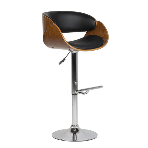 Bar Stools Walnut Bentwood Adjustable Height Leather Modern Barstools with Back Vinyl Seat Extremely Comfy Bar Stool - EGGREE
