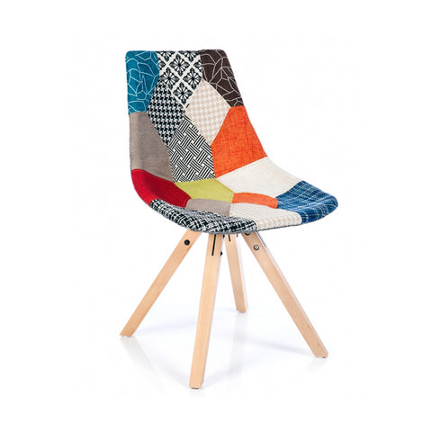 Tulip Patchwork Fabric Side Chair, Eames Retro Woven Patchwork Dining Chair with Wooden Legs